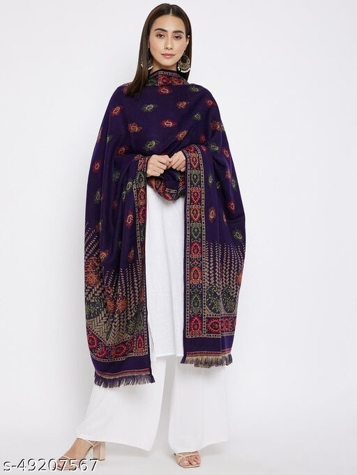 Vero Amore Women's Navy Woven Design Jacquard Shawl has a fringed border (Size 40x80 Inches)