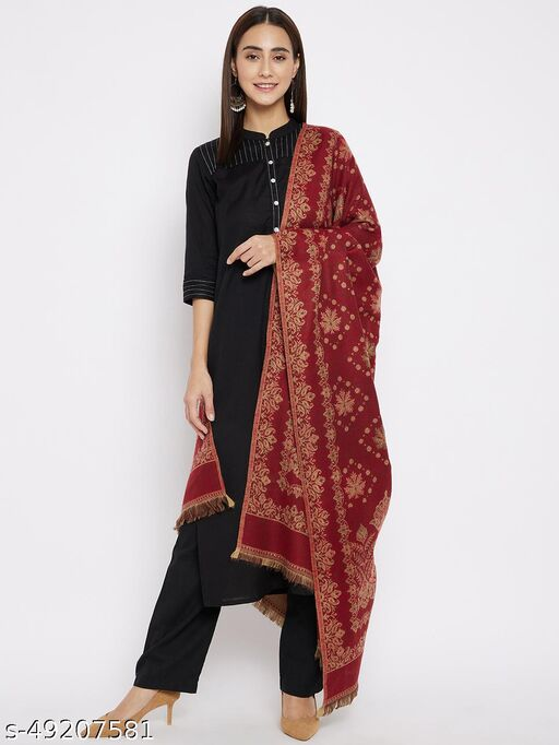 Vero Amore Women's Maroon Woven Design Jacquard Shawl has a fringed border (Size 40x80 Inches)