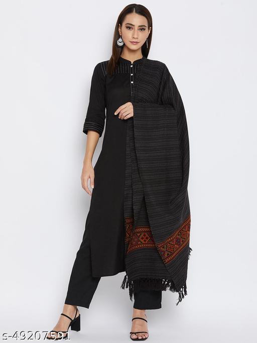 Vero Amore Women's Black Kullu Design Jacquard Shawl has a fringed border (Size 40x80 Inches)