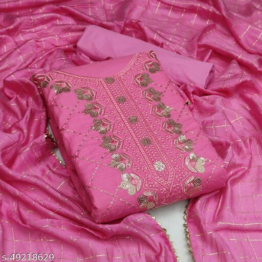 Priyam Fashion Pink Cotton Sequin Embroidered Dress Material