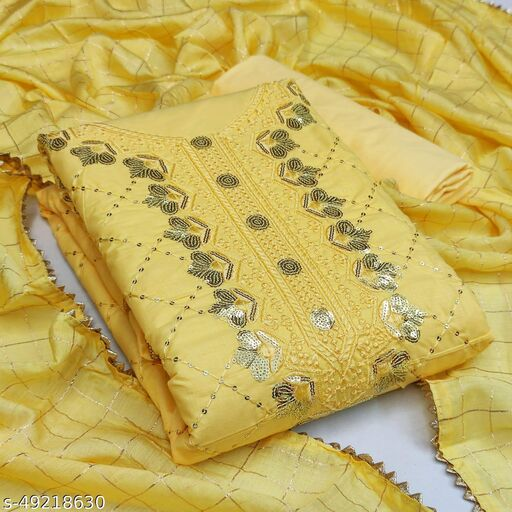 Priyam Fashion Yellow Cotton Sequin Embroidered Dress Material