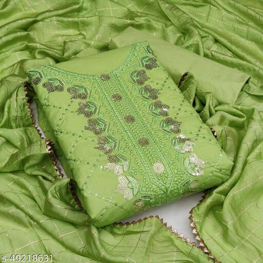 Priyam Fashion Parrot Green Cotton Sequin Embroidered Dress Material