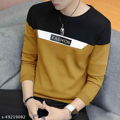 EYEBOGLER Men's Regular Straight Hemline Cotton Fabric Round Neck Casual Wear Colorblocked Pattern Mustard Color T-Shirt