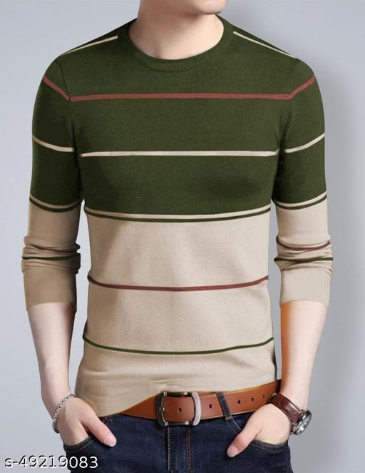 EYEBOGLER Men's Regular Straight Hemline Cotton Fabric Round Neck Casual Wear Striped Pattern Beige Color T-Shirt