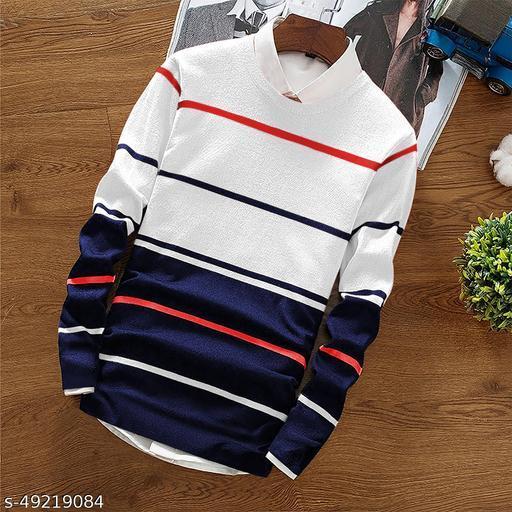 EYEBOGLER Men's Regular Straight Hemline Cotton Fabric Round Neck Casual Wear Striped Pattern Blue Color T-Shirt