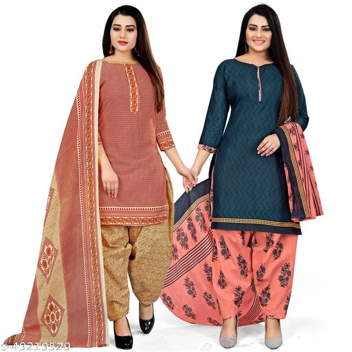 Rajnandini Red And Navy Blue Cotton Printed Unstitched Salwar Suit Material (Combo of 2)