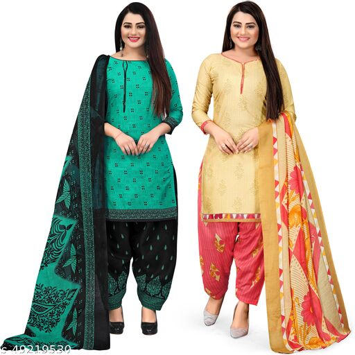 Rajnandini Green And Beige Cotton Printed Unstitched Salwar Suit Material (Combo of 2)