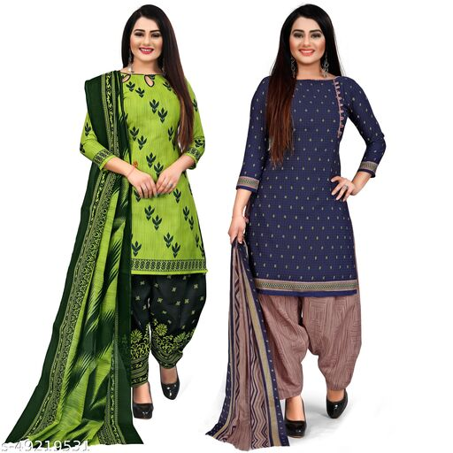 Rajnandini Parrot Green And Navy Blue Cotton Printed Unstitched Salwar Suit Material (Combo of 2)