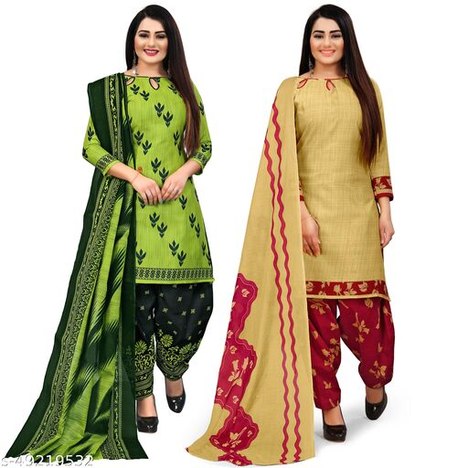 Rajnandini Parrot Green And Beige Cotton Printed Unstitched Salwar Suit Material (Combo of 2)