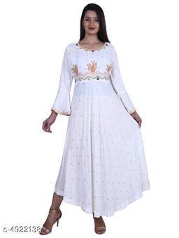 Women's Embroidered Rayon Long Anarkali Kurti