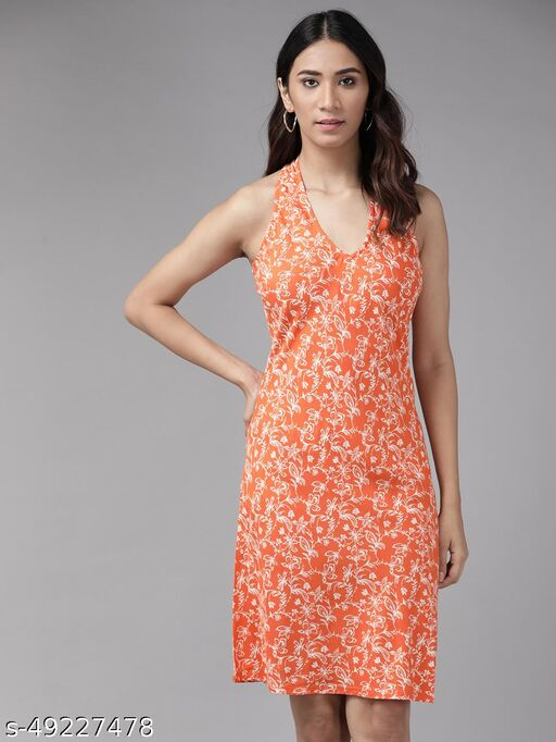 Yash Gallery Women's Rayon Floral Printed Short Dress (Orange)