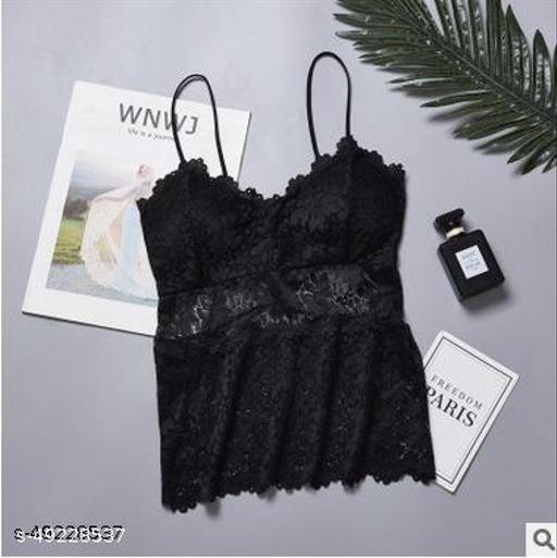Casual Sleeveless Self Design Women Bra (Black)
