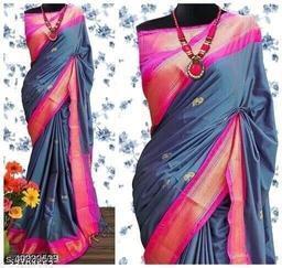 Sanskar Traditional Paithani Cotton Silk Sarees With Contrast Blouse Piece (Morpankhi & Pink)