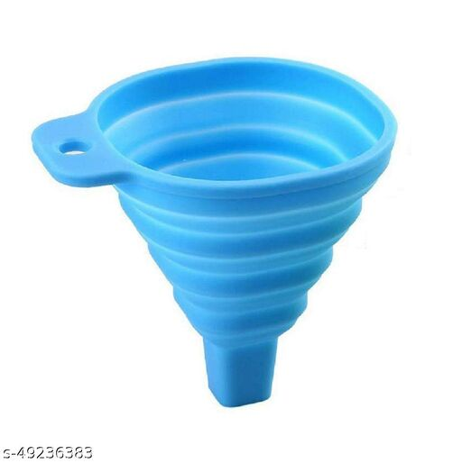 Silicone Oil Funnel with Collapsible and Heat Resistant Feature for Liquid Transfer (1Pc) Multicolor