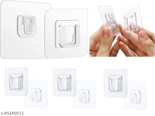 DS Enterprise (Male/Female) Wall Hooks 10KG (Max) Magic Transparent Sticker Hooks for Hanging Mobile Case Spike Guards Toilet Brush Photo Frames Bathroom/Kitchen Accessories pack of -1