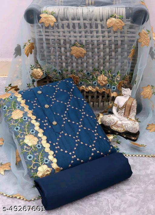 Fabulous Chanderi Dress Material With Dupatta