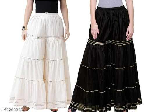 Women's and Girls Rayon Solid Beautiful Sharara/Garara/Plazzo,Combo of 2