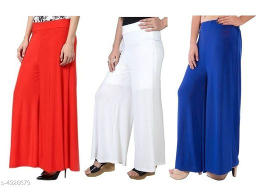 New Trendy Lycra Women's Palazzos (Pack Of 3)