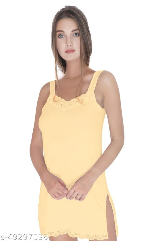 BODIBELLE Women's Cotton Camisole lacey Slip