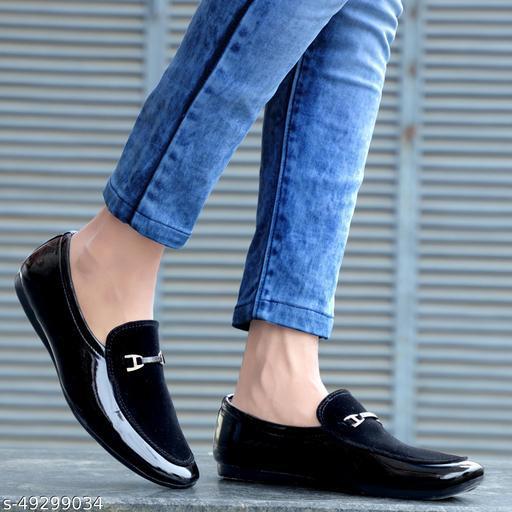 Zartin  Men's Black Synthetic Slip on Loafers