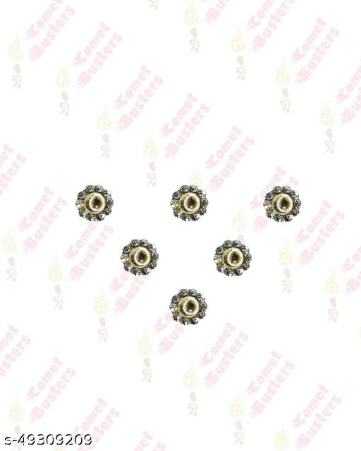 Comet Busters Golden Round Bindi With Silver Stone Border (BIN603)