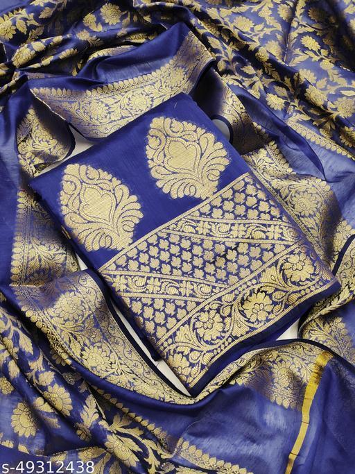 Women'S Blue Semi Stiched Woven Banarshi Jackard  Dress Material