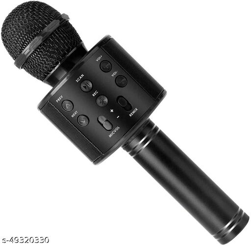 less Karaoke Mic Rechargeable Microphone Bluetooth Singing Microphone With Audio Recording and Bluetooth Speaker (Black)