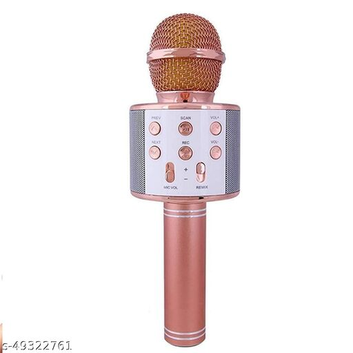 less Karaoke Mic Rechargeable Microphone Bluetooth Singing Microphone With Audio Recording and Bluetooth Speaker (Rosegold)