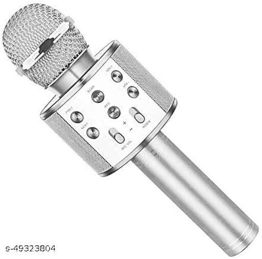 less Karaoke Mic Rechargeable Microphone Bluetooth Singing Microphone With Audio Recording and Bluetooth Speaker (Silver)