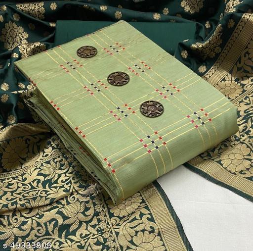 WN Simple Taffeta Silk Jqd Dpt Unstitched Dress Material