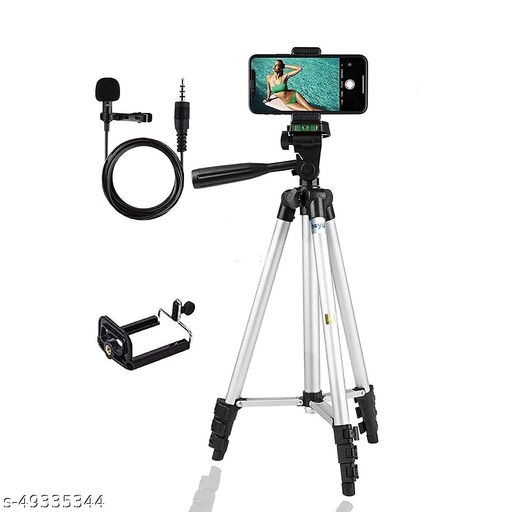 Tripod 3110 Stand for Phone and Camera Adjustable Aluminium. Adjustable, Aluminium Alloy Tripod Stand Holder for Mobile Phones and Camera, and Photo and Video Shoot (Silver, 3110) and a aluminum mic for voice recording and video making