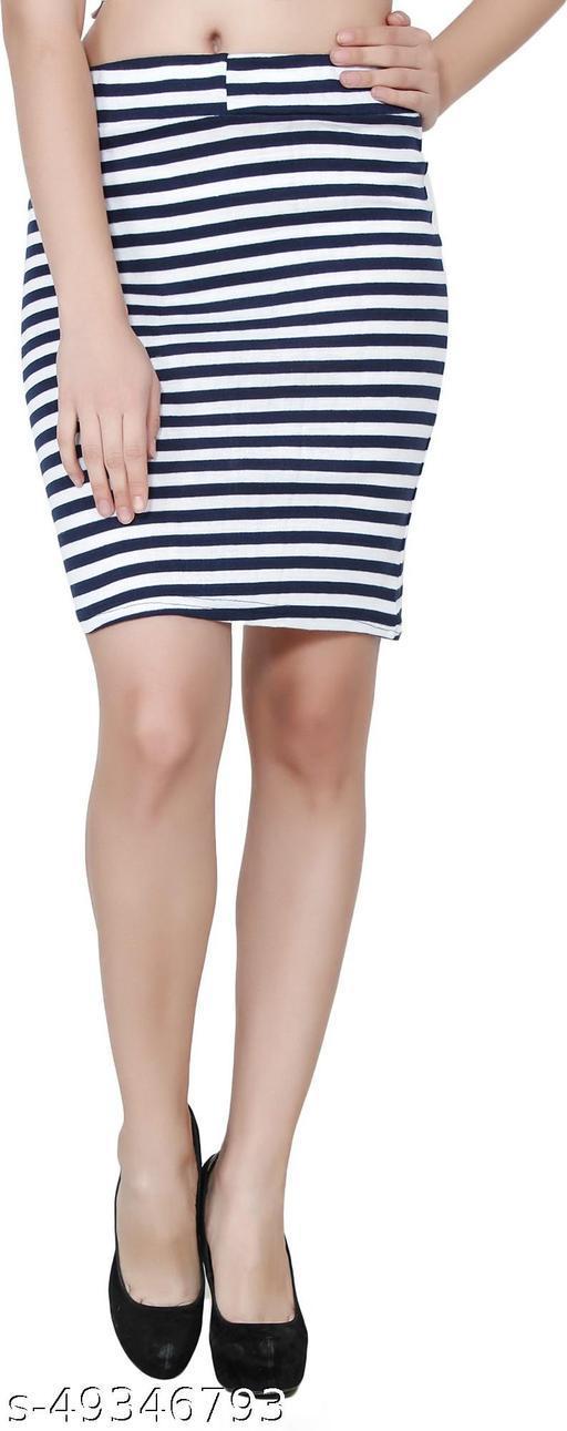 My Swag Striped Women Pencil Blue Skirt