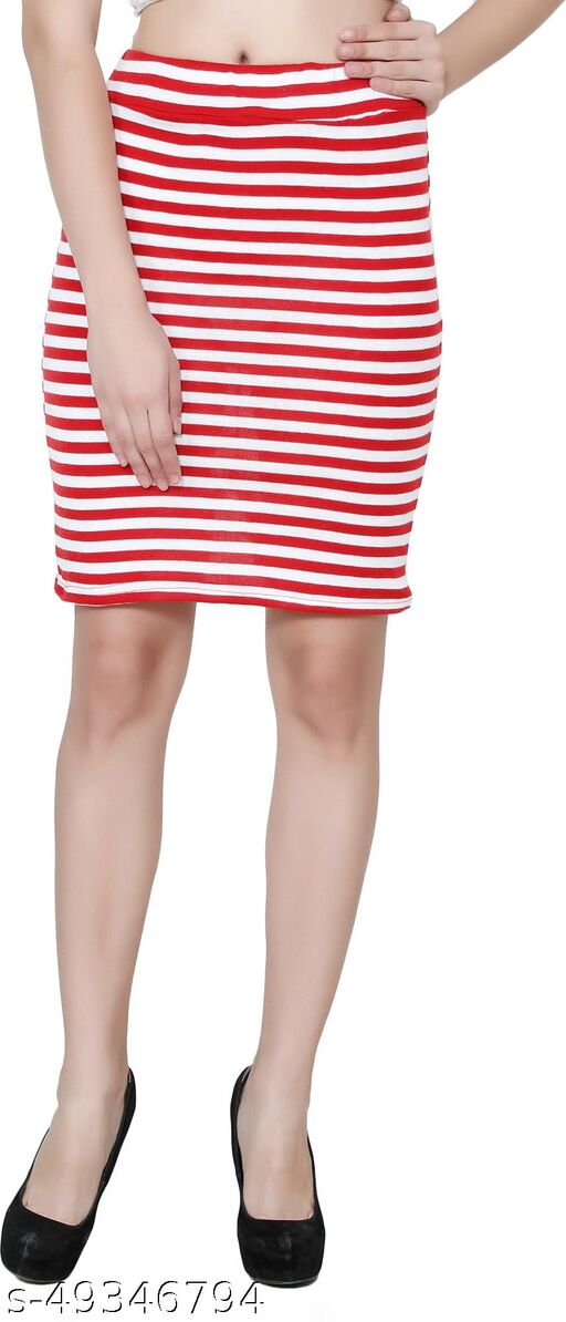 My Swag Striped Women Pencil Red Skirt
