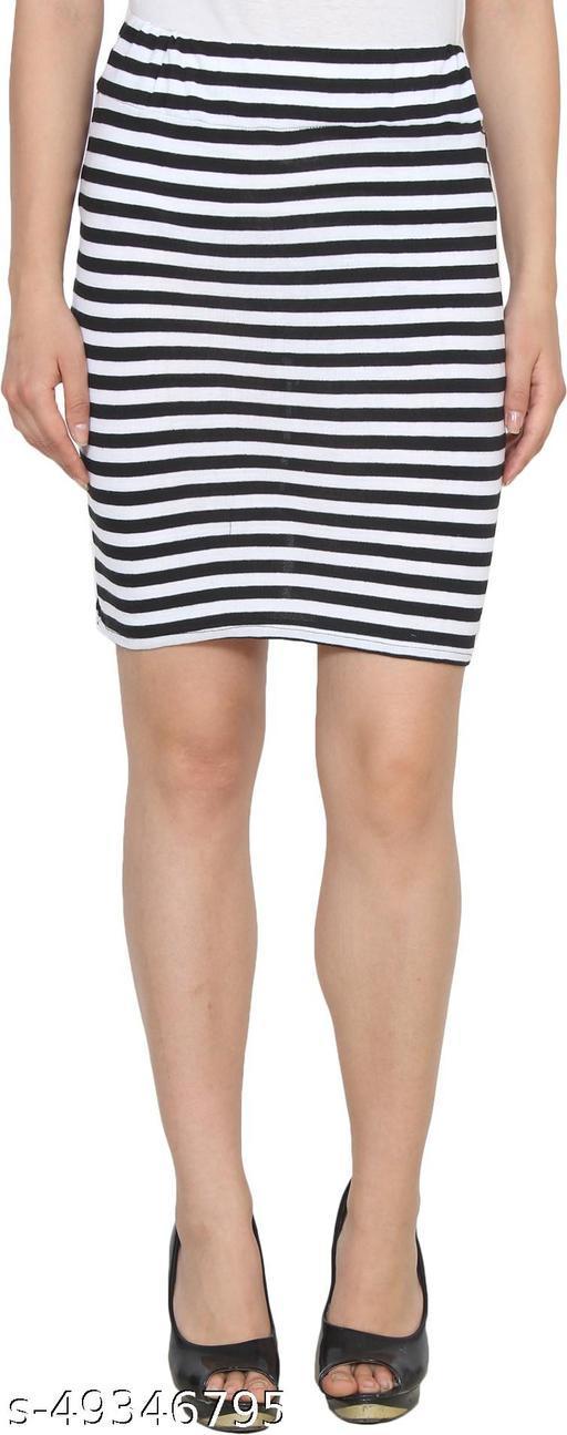 My Swag Striped Women Pencil Black Skirt