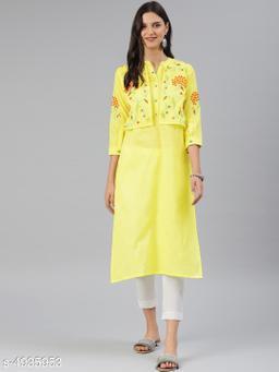 Women Cotton Jacket Kurta Embroidered Yellow Kurti