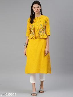 Women Cotton Jacket Kurta Embroidered Mustard Kurti