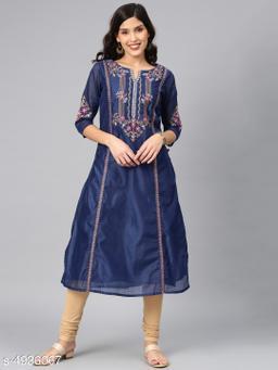 Women's Chanderi Silk Navy Blue A-line Floral Embroidered Kurti