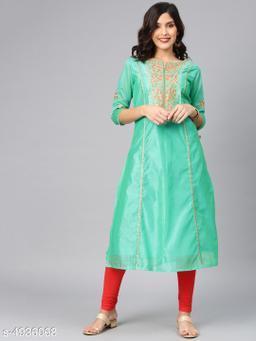 Women's Chanderi Silk Green A-line Floral Embroidered Kurti