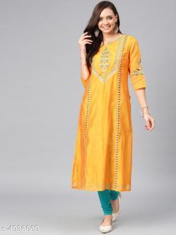 Women Chanderi Silk A-line Embroidered Yellow Kurti