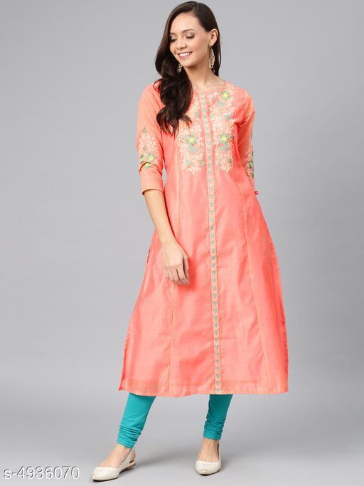 Women's Chanderi Silk Peach A-line Floral Embroidered Kurti