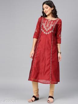 Women's Chanderi Silk Maroon A-line Geometric Embroidered Kurti