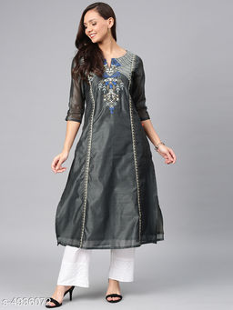 Women's Chanderi Silk Black A-line Floral Embroidered Kurti