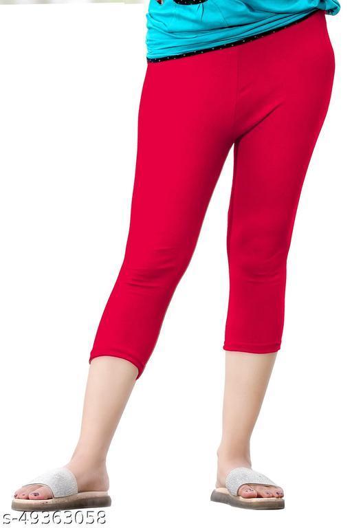 Women's Cotton Plain And Nightwear Capri For Women(Size:-26 to 36)