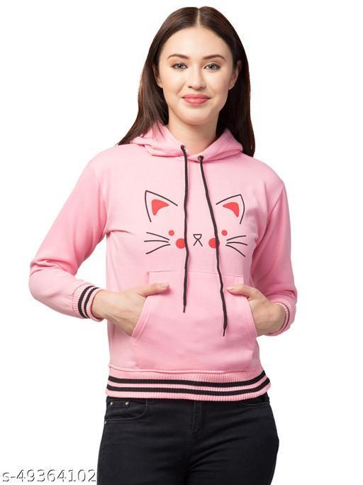 Trendy Cat Printed Full Sleeve Pink Hoodie For Women