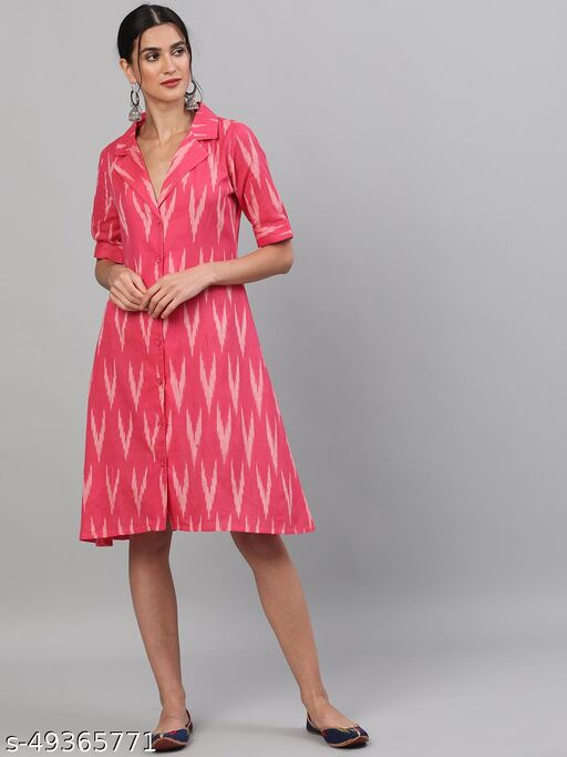 Pink & White Ikat Handloom Woven Design Dress