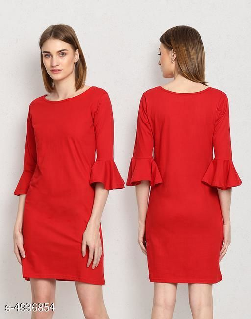 Solid Red Above Knee Dress