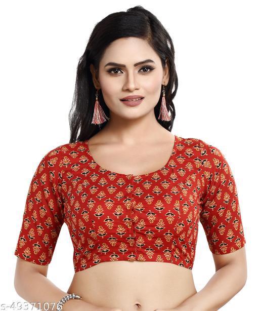 MADHU FASHION Cotton Printed Readymade Saree Blouse