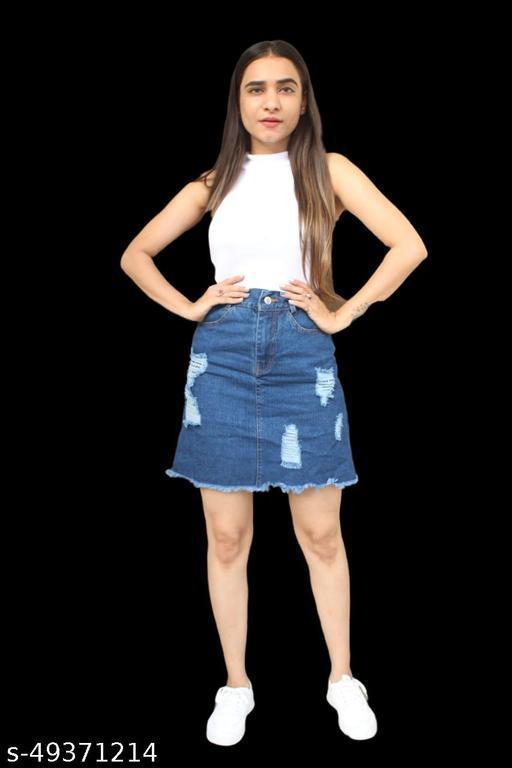 INSTA CREATION Women's Denim Comfortable Fanky Skirt