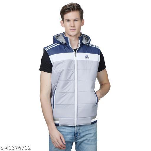 Burdy sleeveless solid men's fancy Grey color jacket
