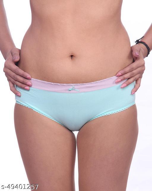 Women Bikini Green Cotton Panty